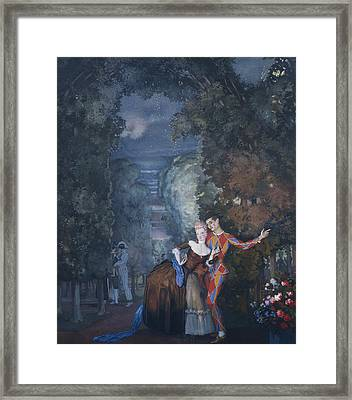 Harlequin And A Lady Framed Print by Konstantin Andreevic Somov