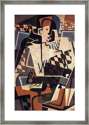 Harlequin With A Guitar, 1917 Oil On Canvas Framed Print by Juan Gris