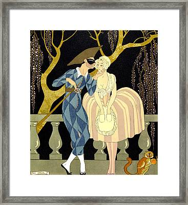 Harlequin's Kiss Framed Print by Georges Barbier