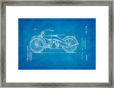 Harley Davidson 1919 Twin Cylinder Model Patent Art  Blueprint Framed Print by Ian Monk
