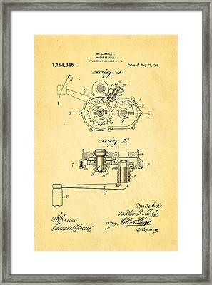 Harley Davidson Kick Starter Patent Art 1916 Framed Print by Ian Monk