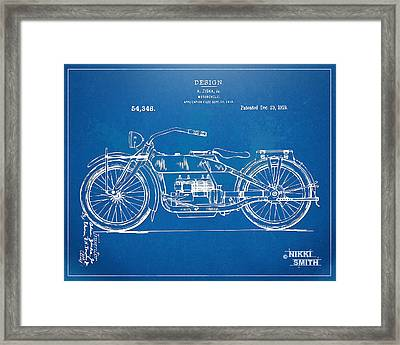Harley-davidson Motorcycle 1919 Patent Artwork Framed Print by Nikki Marie Smith