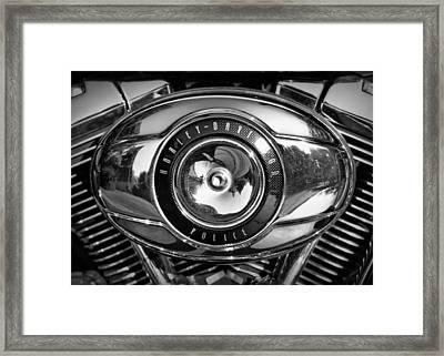 Harley-davidson Police B And W Framed Print by Cricket Hackmann