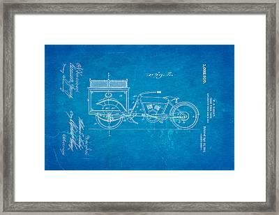Harley Davidson Three Wheel Truck 2 Patent Art 1914 Blueprint Framed Print by Ian Monk