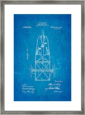 Harley Davidson Three Wheel Truck Patent Art 1914 Blueprint Framed Print by Ian Monk