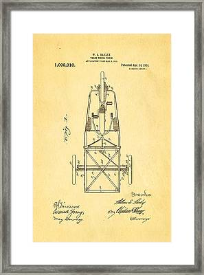 Harley Davidson Three Wheel Truck Patent Art 1914 Framed Print by Ian Monk