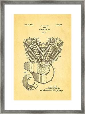 Harley Davidson V Twin Engine Patent Art 1923 Framed Print by Ian Monk