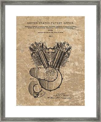 Harley Engine Design Patent Framed Print by Dan Sproul