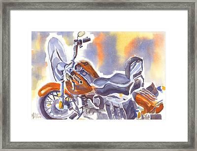 Crimson Motorcycle In Watercolor Framed Print by Kip DeVore