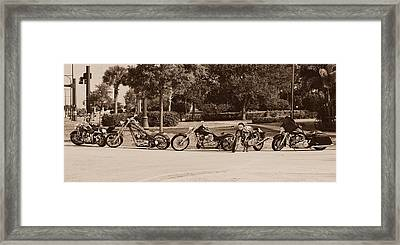Harley Line Up Framed Print by Laura Fasulo