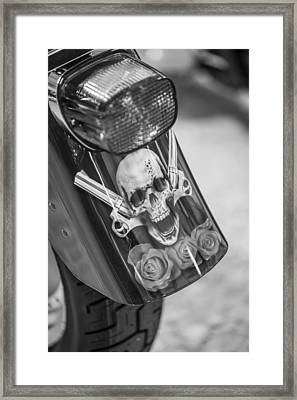 Harley Skull And Taillight  Framed Print by John McGraw