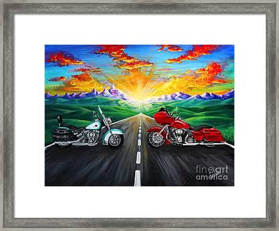 Harley Sunset Framed Print by Teshia Art
