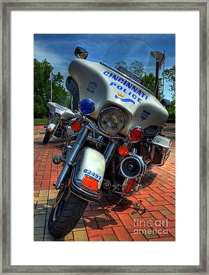 Harleys In Cincinnati 1 Framed Print by Mel Steinhauer