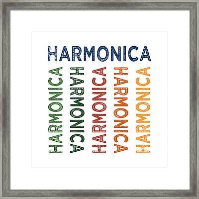 Harmonica Cute Colorful Framed Print by Flo Karp
