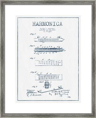Harmonica Patent Drawing From 1897  - Blue Ink Framed Print by Aged Pixel