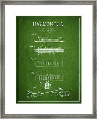 Harmonica Patent Drawing From 1897 - Green Framed Print by Aged Pixel