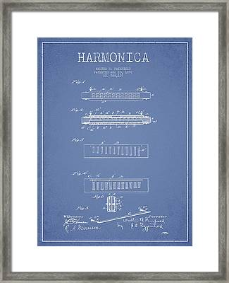 Harmonica Patent Drawing From 1897 - Light Blue Framed Print by Aged Pixel