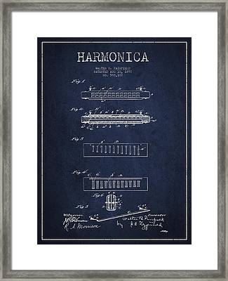 Harmonica Patent Drawing From 1897 - Navy Blue Framed Print by Aged Pixel