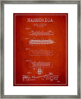 Harmonica Patent Drawing From 1897 - Red Framed Print by Aged Pixel