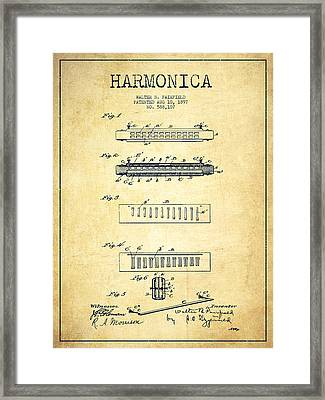 Harmonica Patent Drawing From 1897 - Vintage Framed Print by Aged Pixel