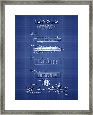 Harmonica Patent From 1897 - Blueprint Framed Print by Aged Pixel