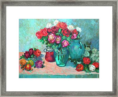 Harmony In Red Roses Framed Print by Diane McClary