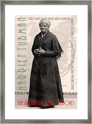Harriet Tubman The Underground Railroad 20140210v2 With Text Sepia Framed Print by Wingsdomain Art and Photography