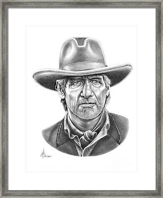 Cowboy Pencil Drawings Framed Print featuring the drawing Harrison Ford by Murphy Elliott