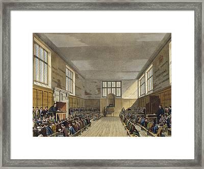 Harrow School Room From History Framed Print by Augustus Charles Pugin