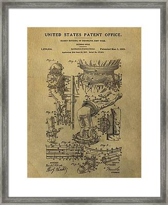 Harry Houdini's Diving Suit Patent Framed Print by Dan Sproul