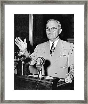 Harry Truman Press Conference Framed Print by Underwood Archives