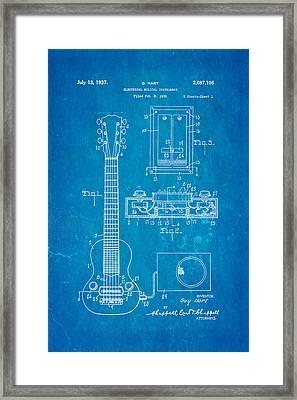 Hart Gibson Electric Guitar Pickup Patent Art 1937 Blueprint Framed Print by Ian Monk