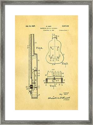 Hart Gibson First Electric Guitar 2 Patent Art 1937 Framed Print by Ian Monk