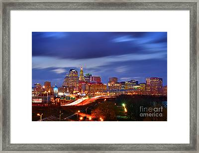 Hartford Skyline At Night Framed Print by Jon Holiday