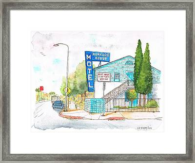 Harvard House Motel In Hollywood Blvd - Los Angeles - California Framed Print by Carlos G Groppa