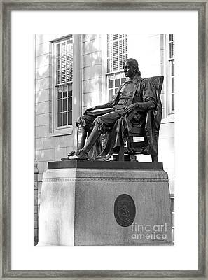 John Harvard Statue At Harvard University Framed Print by University Icons