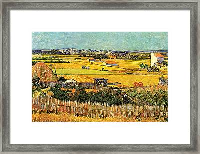 Harvest At La Crau With Montmajour In The Background Framed Print by Vincent Van Gogh