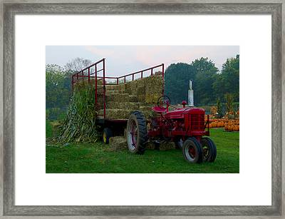 Harvest Time Tractor Framed Print by Bill Cannon