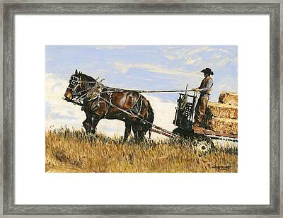 Hauling Hay Framed Print by Don  Langeneckert