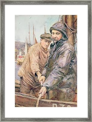 Hauling In The Net Framed Print by Henry Meynell Rheam