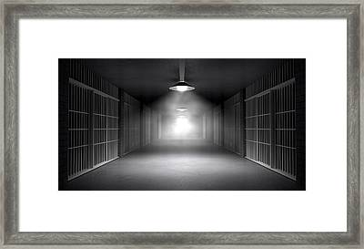 Haunted Jail Corridor And Cells Framed Print by Allan Swart