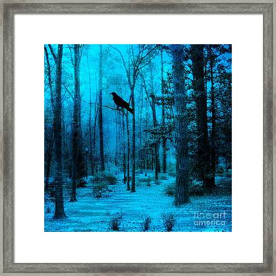 Haunting Dark Blue Surreal Woodlands With Crow  Framed Print by Kathy Fornal