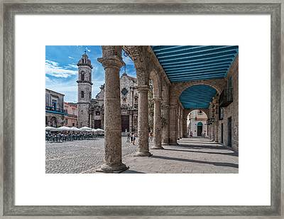 Havana Cathedral And Porches. Cuba Framed Print by Juan Carlos Ferro Duque