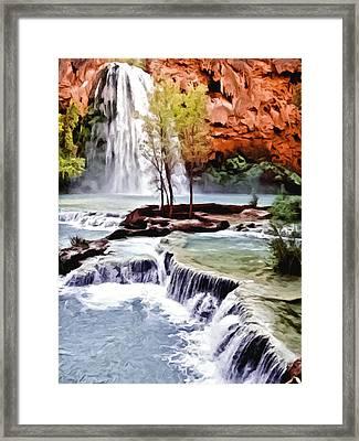 Havasau Falls Painting Framed Print by Bob and Nadine Johnston