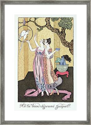 Have You Had A Good Dinner Jacquot? Framed Print by Georges Barbier