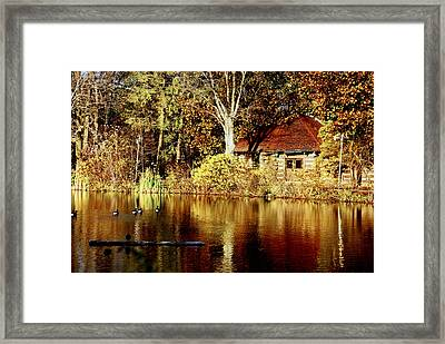 Haverford College Lake Framed Print by Judy Gallagher