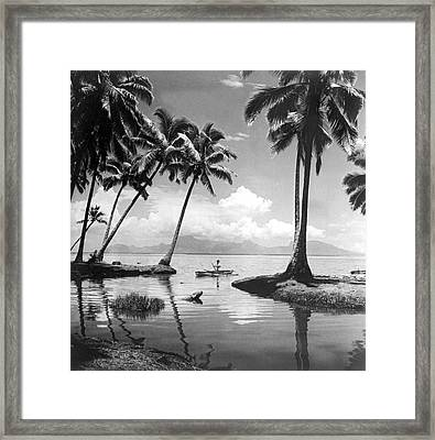 Hawaii Tropical Scene Framed Print by Underwood Archives