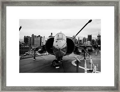 Hawker Siddeley Av8 Av 8c Harrier On Display On The Flight Deck At The Intrepid Sea Air Space Museum Framed Print by Joe Fox