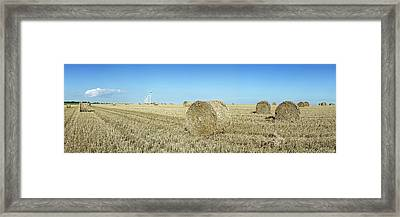 Hay Bales In A Field, Veules-les-roses Framed Print by Panoramic Images