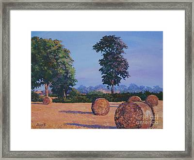 Hay-bales In Evening Light Framed Print by John Clark